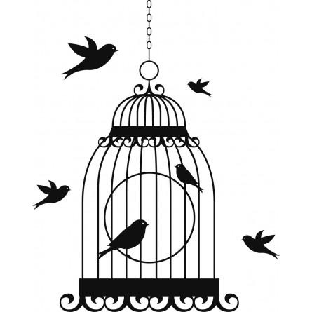 Sticker mural cage et oiseaux en liberté