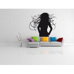 Sticker mural silhouette cheveux au vent