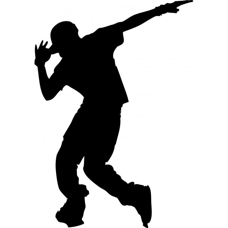 Sticker mural danseur hip hop