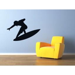 Sticker mural silhouette de surfeur