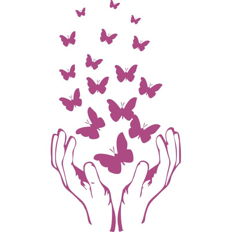 Sticker envolée de papillons