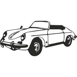 sticker deco Old Porsche Cabrio