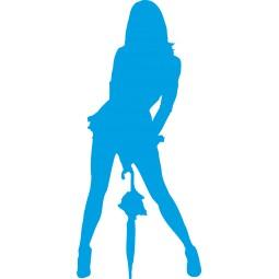 Sticker autocollant femme parapluie