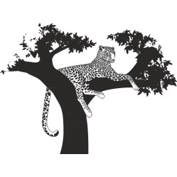Sticker mural léopard branche