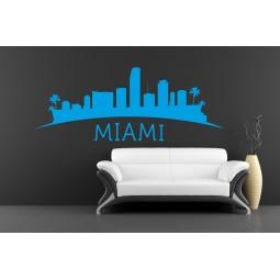 Sticker décoration murale skyline Miami