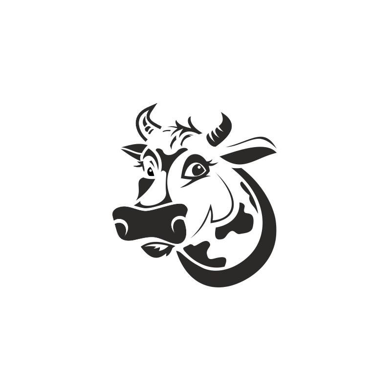 sticker vinyl tete de vache rigolote