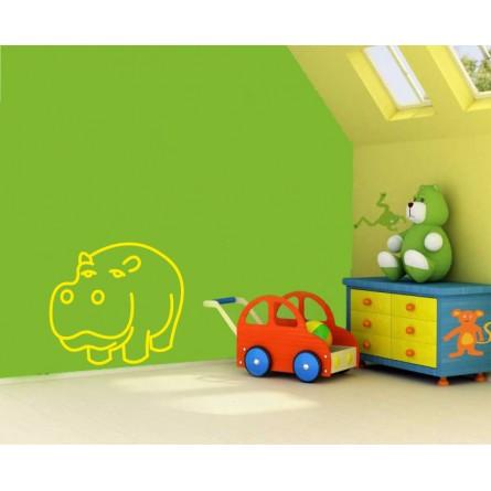 sticker décoration murale hippo rigolo
