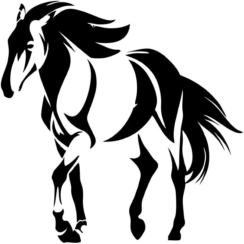 Sticker adhésif vinyl cheval au pas