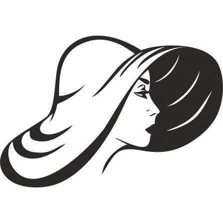 sticker mural chapeau femme