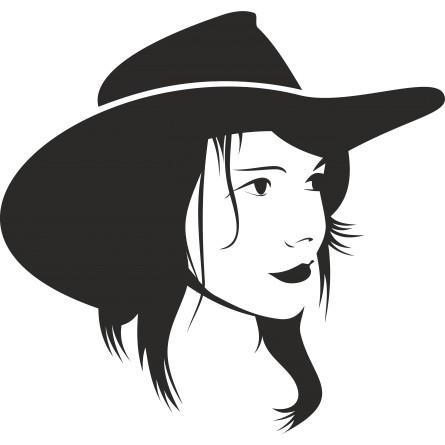 Sticker autocollant cowgirl