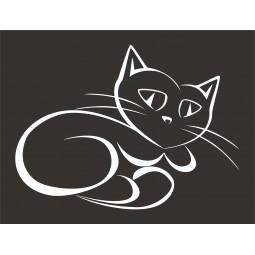 Sticker vinyl chat couché