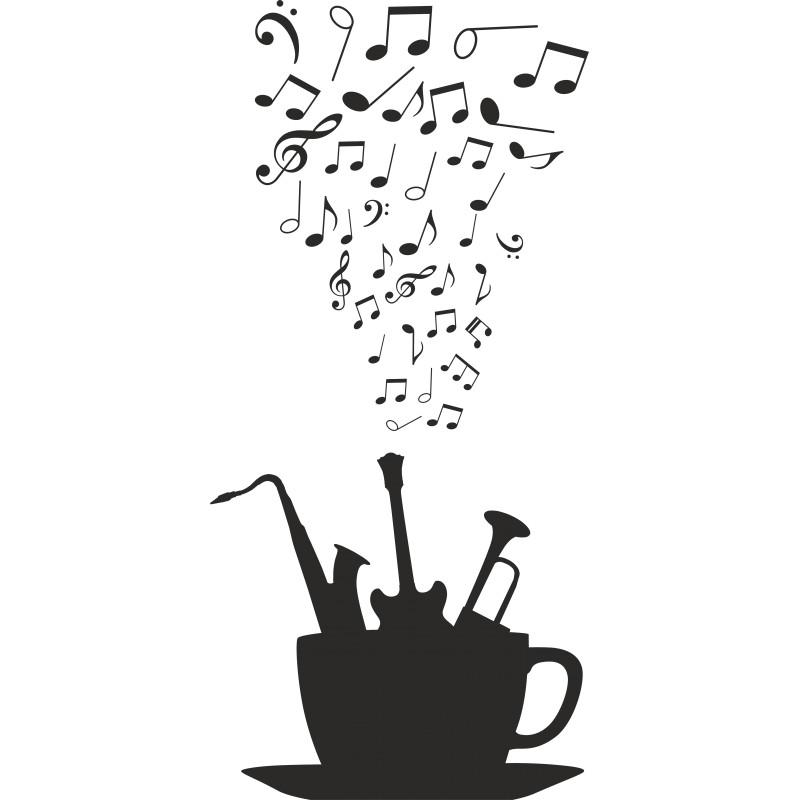 Sticker déco tasse musicale