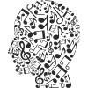 Sticker décoration tête musicale
