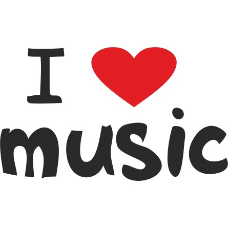 Sticker vinyl I Love Music