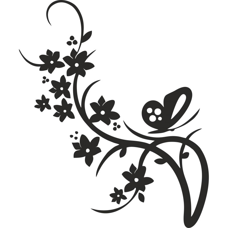 Sticker adhésif brache fleur papillon