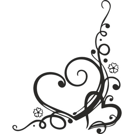 Sticker décoration murale coeur et fleurs