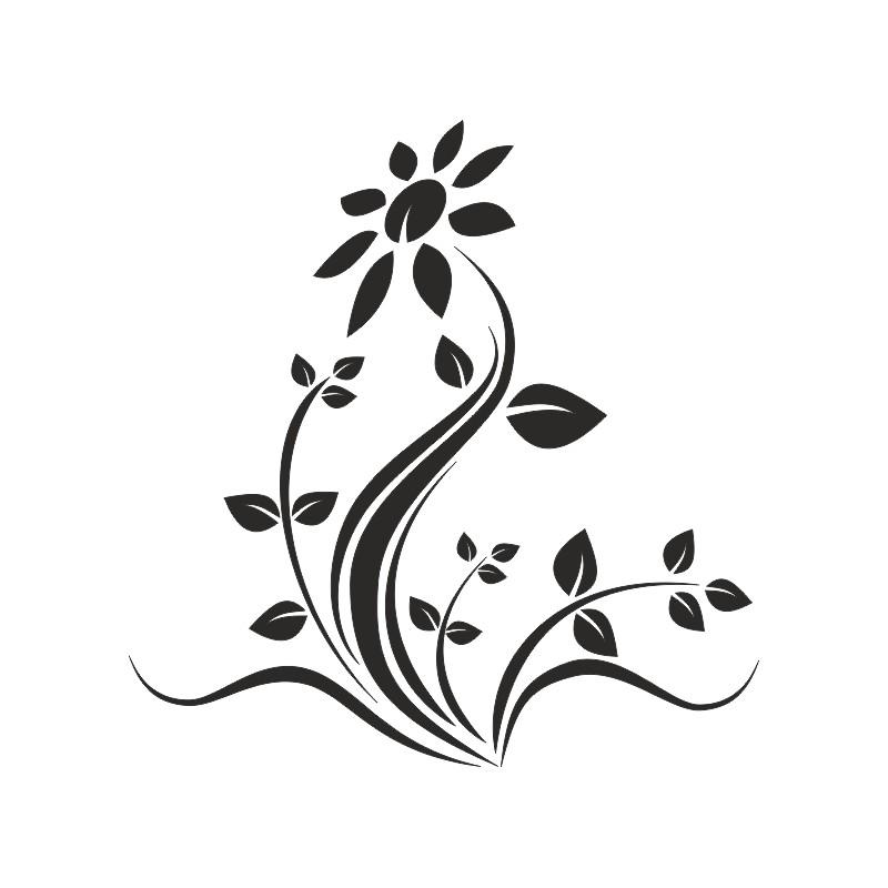 Sticker déco adhésive fleurs tournesol
