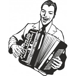 Sticker deco accordeoniste