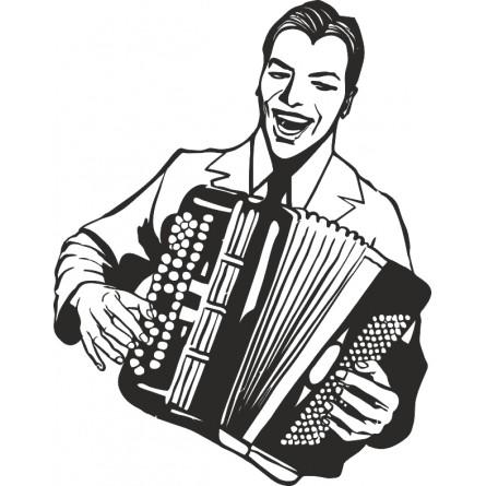 Sticker deco accordeoniste