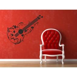 Sticker mural guitare fleurie