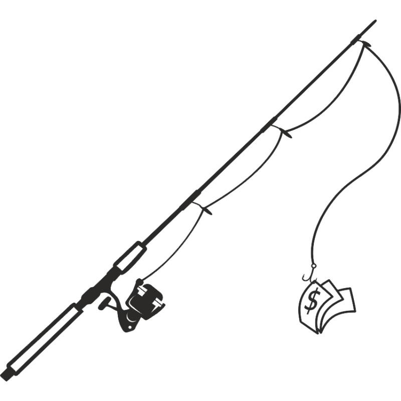 sticker adhésif canne a pêche avec billet