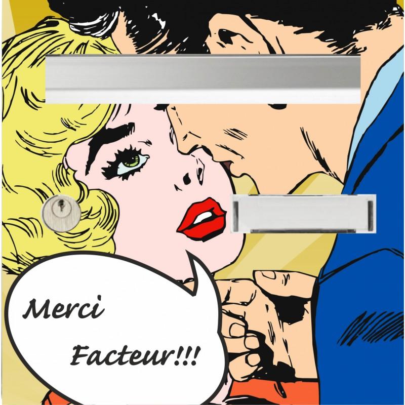 """sticker boîte aux lettres """"merci facteur"""""""