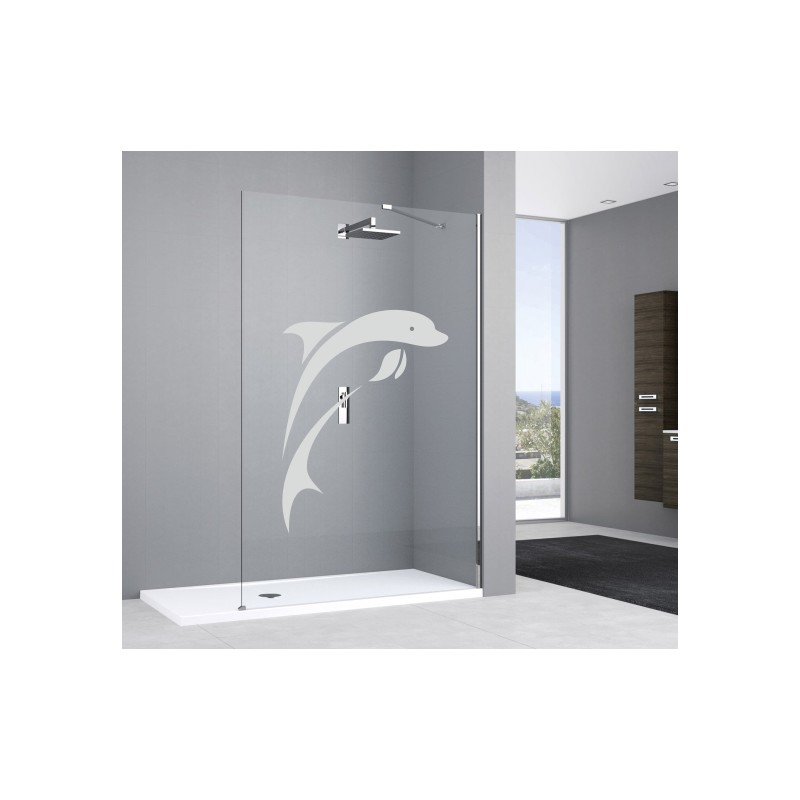Sticker deco paroi de douche dauphin