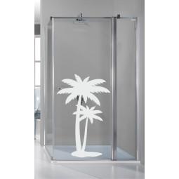 Sticker porte de douche 2 palmiers