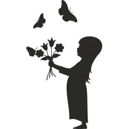 sticker petite fille et bouquet de papillons