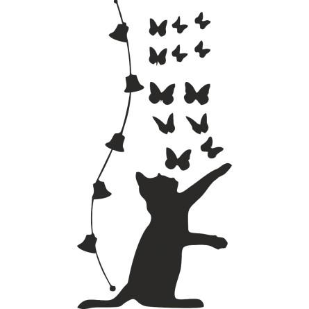 sticker chat et papillons