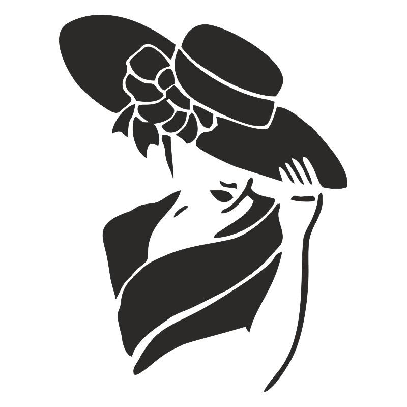 sticker belle femme au chapeau