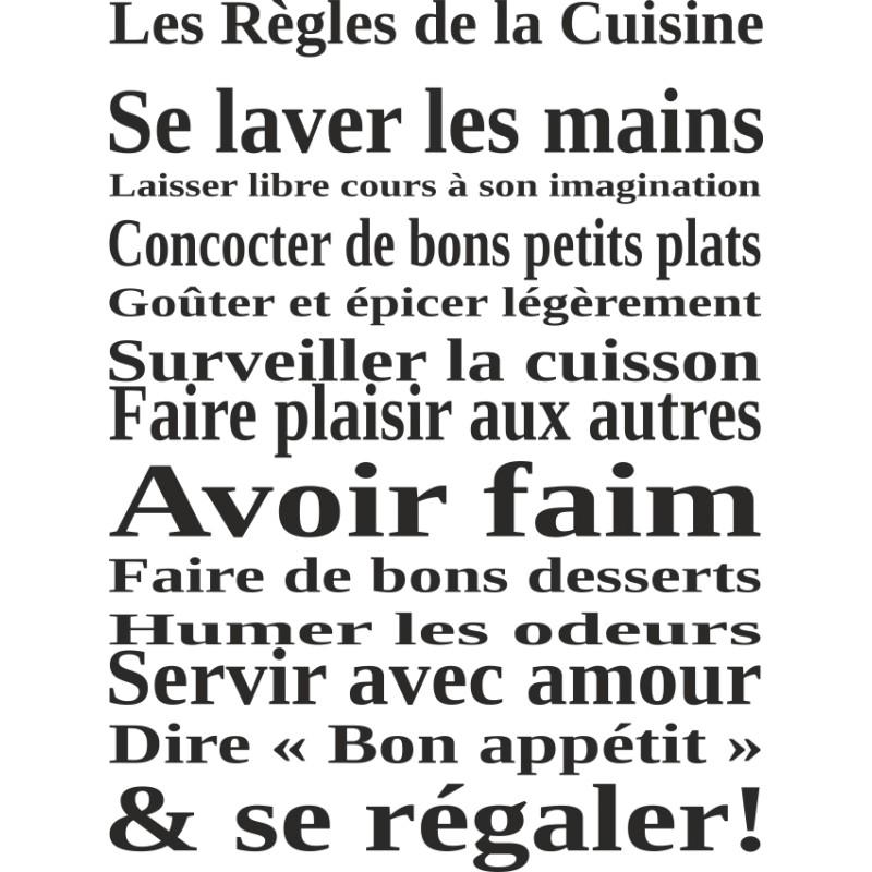 sticker mural les règles de la cuisine