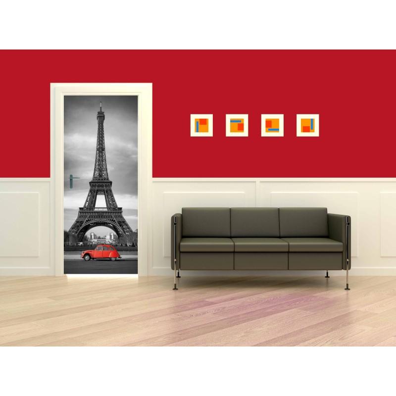 Stickers porte Tour Effeil 2 CV Rouge